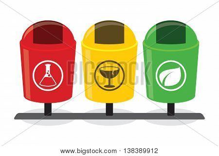 organic inorganic recycle garbage bin separation segregate separate bottle degradable waste trash illustration