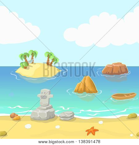 Seamless cartoon beach landscape with island ocean and mountain, vector background for game.