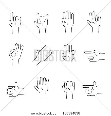 Hands line vector icons set. Human hands gesture and illustration pointer and direction hand
