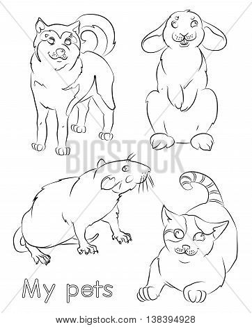 black and white image of a cat, rat, rabbit and dog- suitable for a child's coloring, and not only. For your convenience, each significant element is in a separate layer.