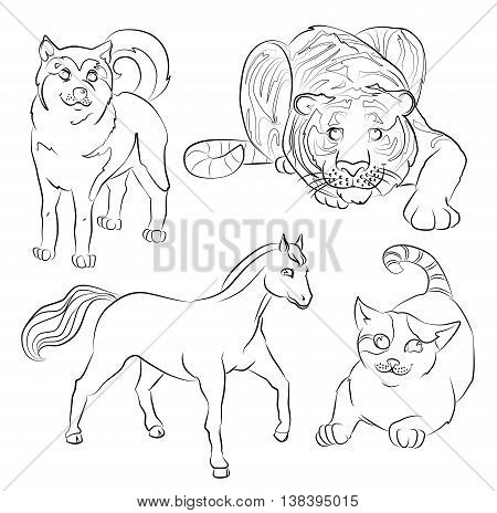 black and white image of a cat dog horse and tiger- suitable for a child's coloring and not only. For your convenience each significant element is in a separate layer.