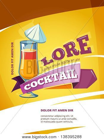 Cocktail bar vector poster template. Summer party background with cocktail. Illustration alcohol cocktail