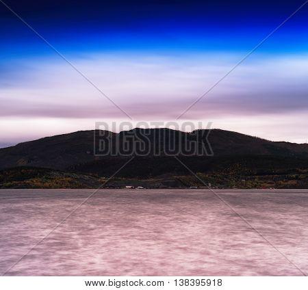 Horizontal Dramatic Norway Fjord Hill Landscape Background Backd