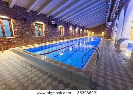 Swiming pool. Indoor pool. Luxury spa hotell.