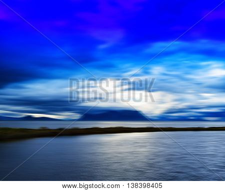 Horizontal Vivid Norway Fjord Motion Blur Abstraction Background