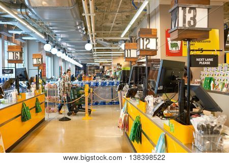 CHICAGO, IL - CIRCA APRIL, 2016: inside of Whole Foods Market. Whole Foods Market Inc. is an American supermarket chain.