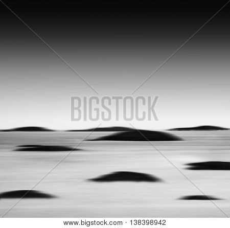 Square Vibrant Black And White Ocean Landscape Islands Abstracti