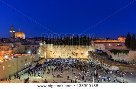 Jerusalem, Israel - July 01, 2016: Shabbat Prayer Near The Western Wall
