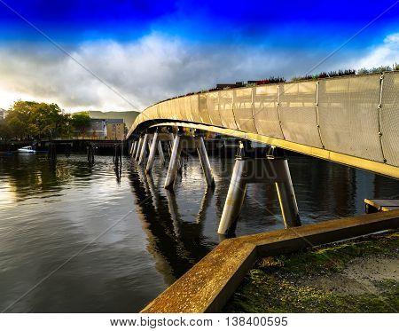Horizzontal vivid Norway town bridge background backdrop