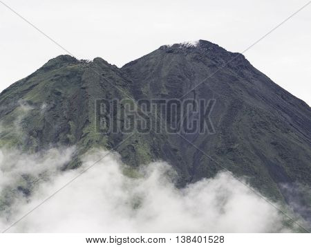 Close up of the dormant Arenal volcano in Costa Rica