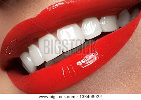 Macro Happy Woman's Smile With Healthy White Teeth, Red Lips