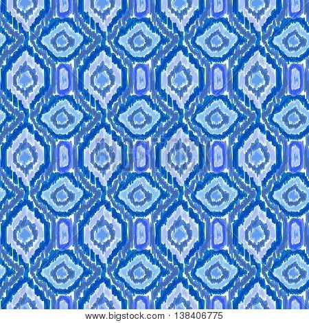 Boho Tie Dye Shibori Pattern Watercolor Blue