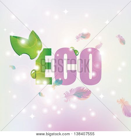 vector banner with the inscription Eco with leaves and dew on the background of feathers and highlights