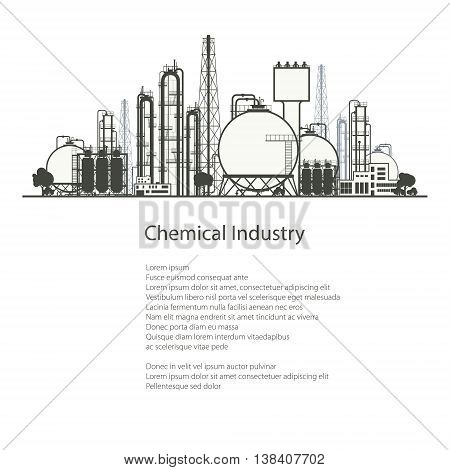 Industrial Chemical Plant Isolated on White Background , Refinery Processing of Natural Resources, Chemical Industry, Poster Brochure Flyer Design, Vector Illustration