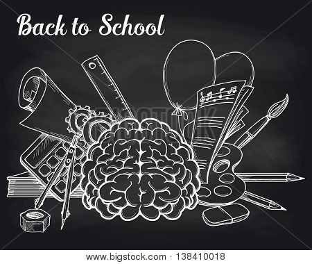 Illustration of the school objects and brain on the chalkboard. Vector illustration