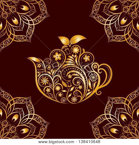 Vector Seamless Gold Floral Teapot and Mandala Pattern. Seamless pattern for your design, invitation card, menu, cafe, bar and other drink wrapped projects. Fabric, Paper, Textile Teapot Pattern.