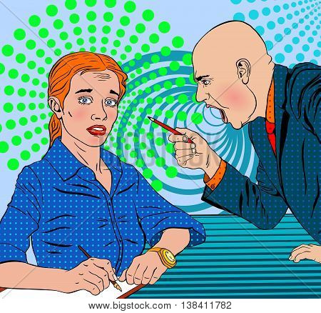 angry bald boss swears on the subordinate frightened in a pop art style