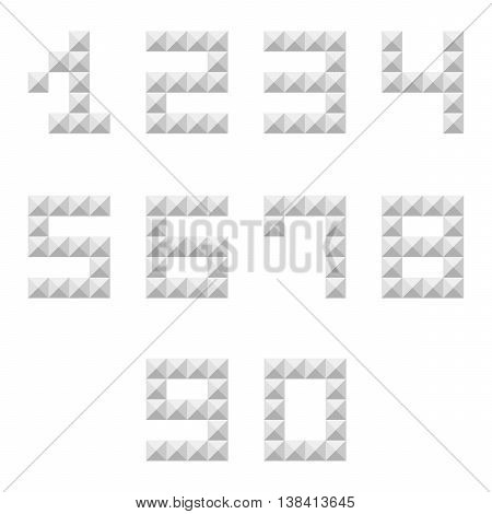 Silver studded 0-9 numbers set, collection isolated on white background.