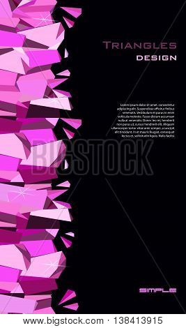 Vertical ruby diamond or purple crystal seamless border for girl glamour party banner design. Pink abstract geometric triangles border on black background. Vector illustration - stock vector.