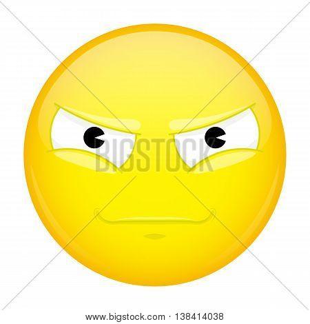 Evil emoji. Bad emotion. Malice emoticon. Vector illustration smile icon.