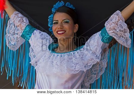 ROMANIA TIMISOARA - JULY 7 2016: Dancer from Colombia in traditional costume present at the international folk festival