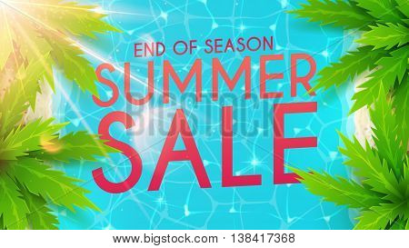 Summer sale banner. Beautiful background on the sea topic with palm trees. Vector discount illustration. Hello Summer Holiday backdrop.