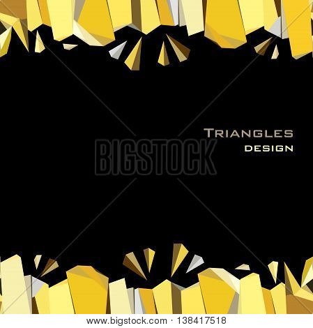 Horizontal gold frame geometric design. Golden crystal geometric abstract triangles border design on black background. Golden abstract geometric background. Golden vector illustration stock vector.