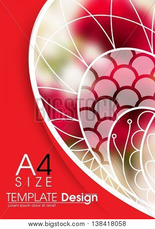 A4 size, blurred red roses elements annual report marketing business corporate design template. eps10 vector