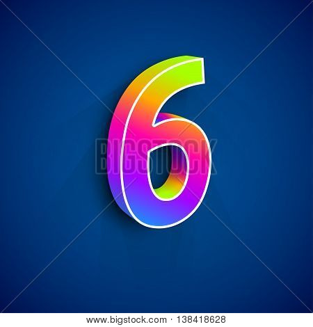 3d Number Six. Colorful figure 6 on Blue Background