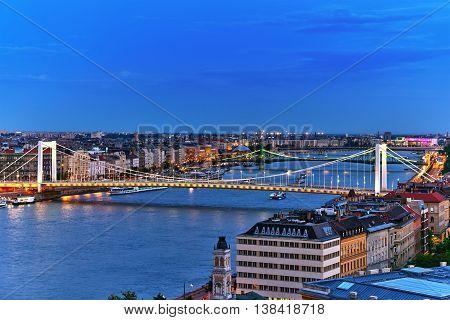 Panorama View On Elisabeth Bridge And Budapest,bridge Connecting Buda And Pest Parts.night Time.