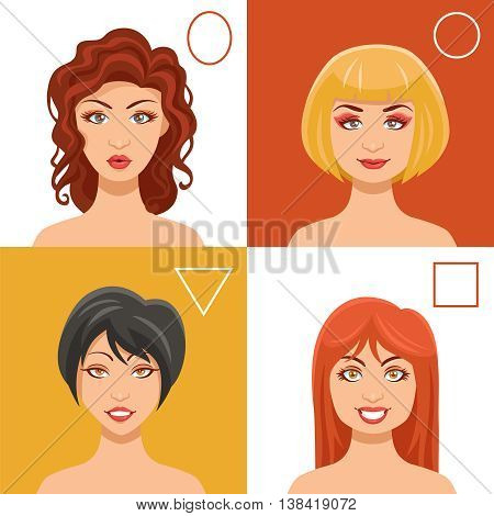 Women faces set with oval round triangle and square shapes flat isolated vector illustration