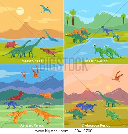Dinosaurs 2x2 design concept set of cartoon compositions of jurassic triassic cretaceous and mesozoic periods flat vector illustration poster