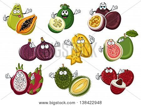 Smiling and happy tropical cartoon fruits with hands. Vegetarian lychee or rambutan with seed, cutted guava and fresh fig, juicy pitaya and smelly durian, ripe feijoa and raw maracuja, organic carambola