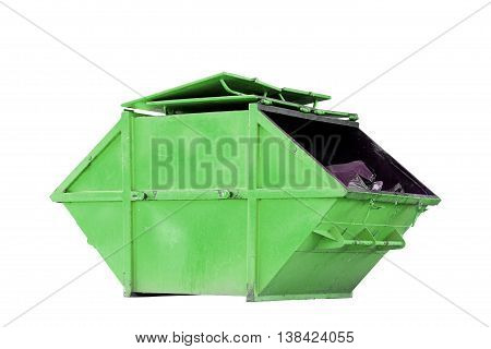 Industrial Waste Bin (dumpster) for municipal waste or industrial waste isolated on white background with clipping path