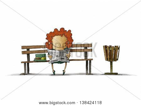 Illustration of smiling businesswoman with lunch box reading newspaper on bench.Isolated.