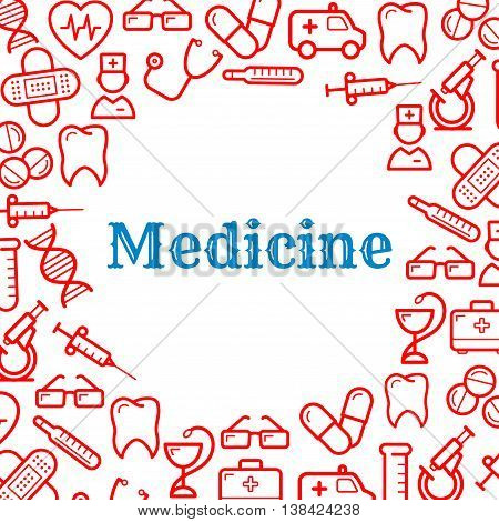 Medical and healthcare equipment icons in form of heart. Nurse or medic, sticking plaster or adhesive bandage, tooth and thermometer, pill or tablet as capsule, stethoscope and first aid kit, snake twined around cup and DNA, ambulance and glasses