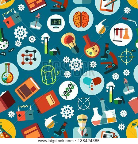 Science and experiment equipment seamless pattern. Research and education gear consists beaker and burner or gas-jet, transformer and book, dropper and monitor, molecule and DNA, cog and brain.