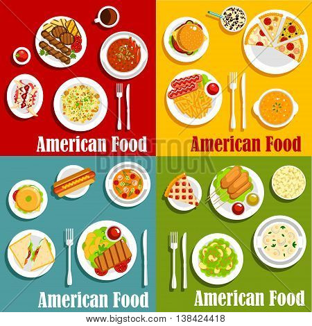 North american or United States traditional national cuisine. Egg benedict and hot dog, hamburger and cheeseburger, sandwich with beef and pork or sirloin steak, sausage with sauce or ketchup and chorizo, vichyssoise soup and stew