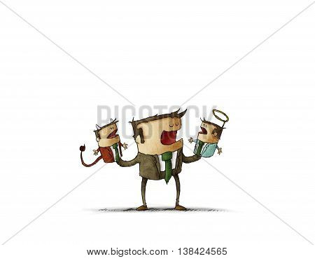 Conceptual illustration of businessman talking to angel and devil puppets.Isolate