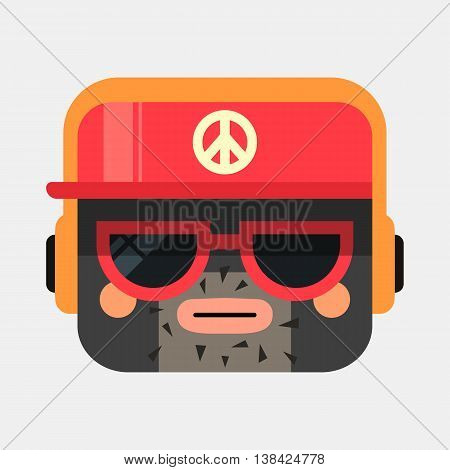 Rapper avatar illustration. Trendy gangster squared icon with shadows in flat style. Colorful and funny uncommon vector.