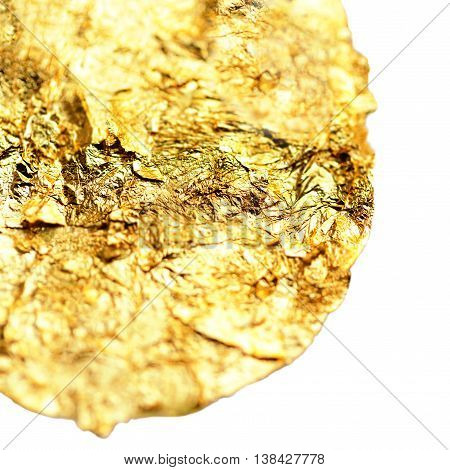 Golden watercolour circle stain. Abstract isolated Gold textured Watercolor Hand drawn brush stroke design element.