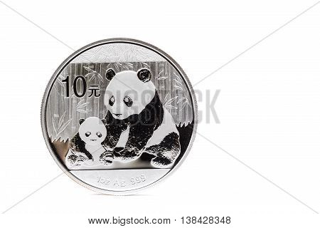 Silver coin with mother and child panda isolated on white background