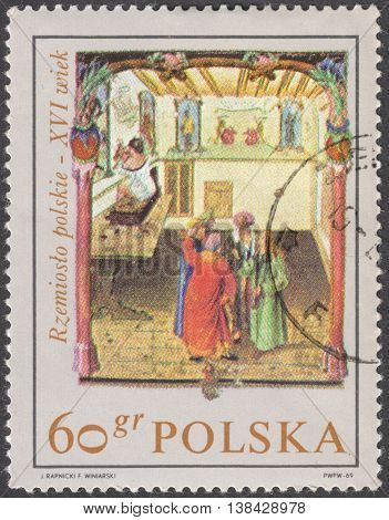 MOSCOW RUSSIA - CIRCA JANUARY 2016: a post stamp printed in POLAND shows Polish crafts of the 16th century the series