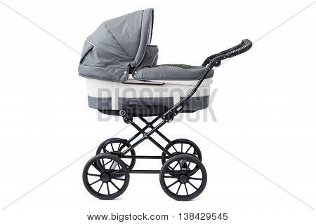 Baby carriage on white background for infants