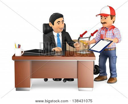 3d business people illustration. Businessman receiving a package at the office. Isolated white background.