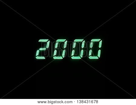 Horizontal green digital 2000 millenium display clock memories background backdrop
