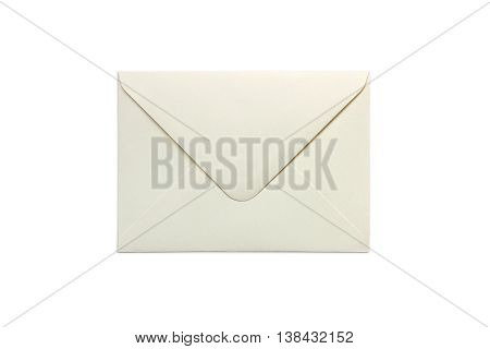 Blank ivory envelope isolated on white background with shadows. Mockup of envelope.
