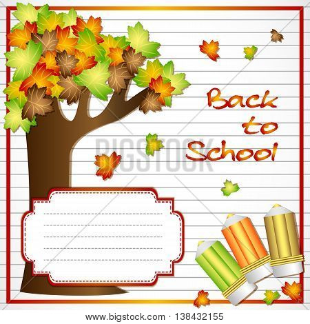 School notebook background with maple tree and school pencils on page of copybook in line. Back to school. Vector illustration
