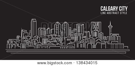 Cityscape Building Line art Vector Illustration design - Calgary city