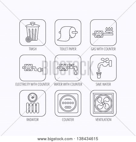 Ventilation, radiator and water counter icons. Toiler paper, gas and electricity counters linear signs. Trash icon. Flat linear icons in squares on white background. Vector
